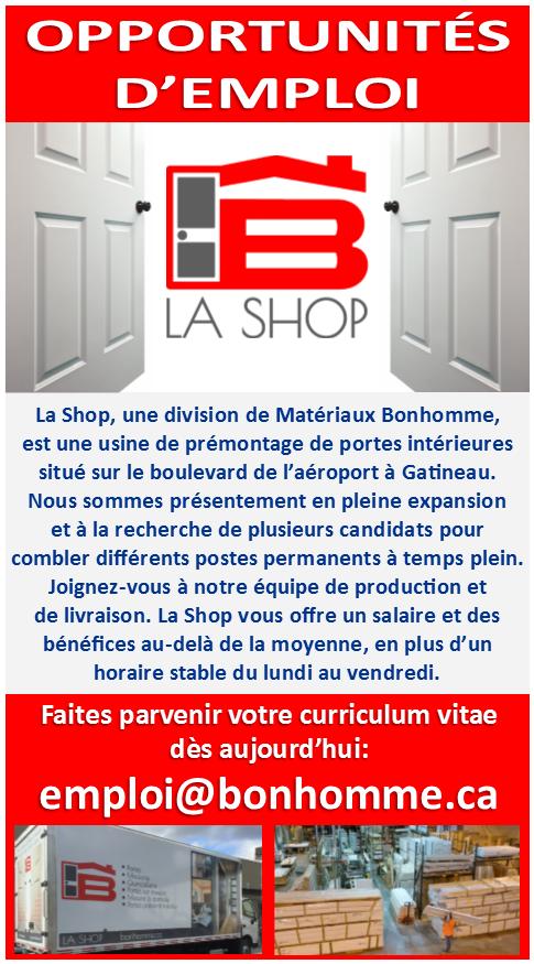 Emplois - La Shop, Materiaux Bonhomme